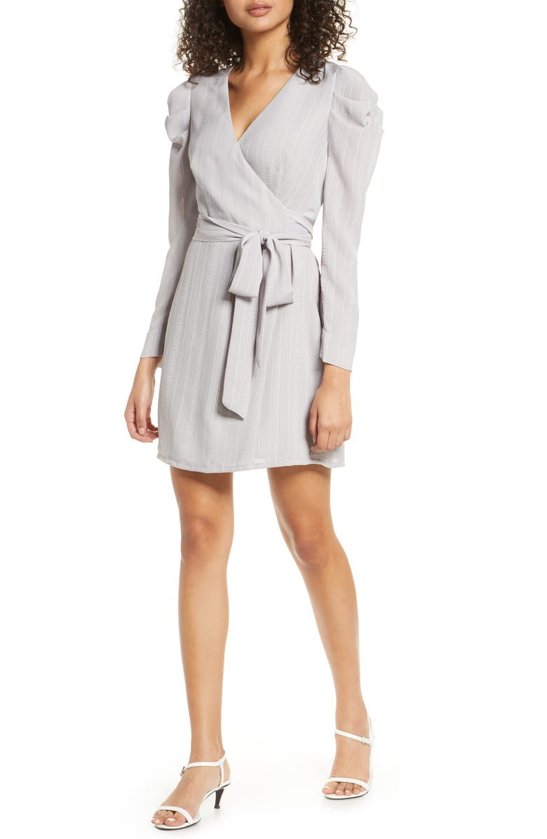 BELLEVUE THE LABEL Bianca Wrap Front Long Sleeve Dress, Main, color, SILVER
