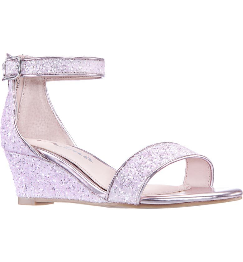 NINA Kristina Wedge Glitter Sandal, Main, color, PINK CHUNKY GLITTER