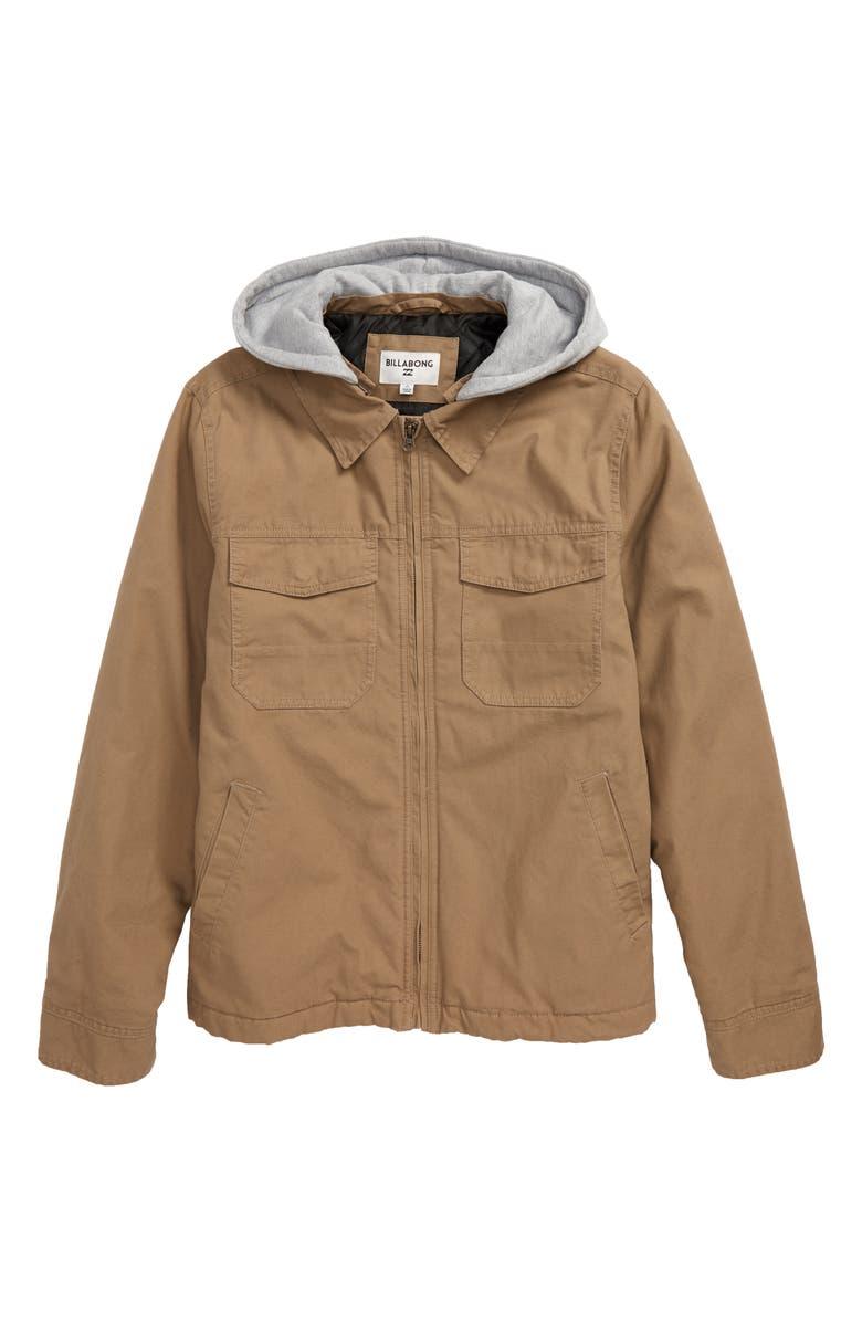 BILLABONG Barlow Twill Hooded Jacket, Main, color, CLAY
