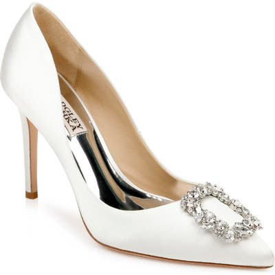 Badgley Mischka Cher Crystal Embellished Pump, White