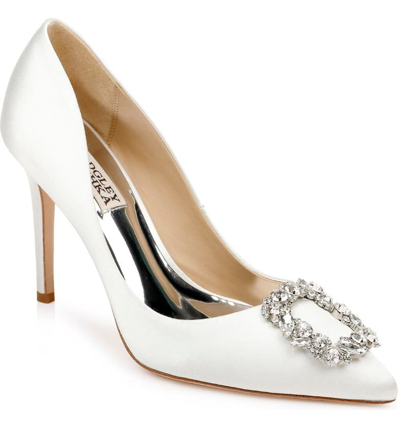 BADGLEY MISCHKA COLLECTION Badgley Mischka Cher Crystal Embellished Pump, Main, color, SOFT WHITE SATIN