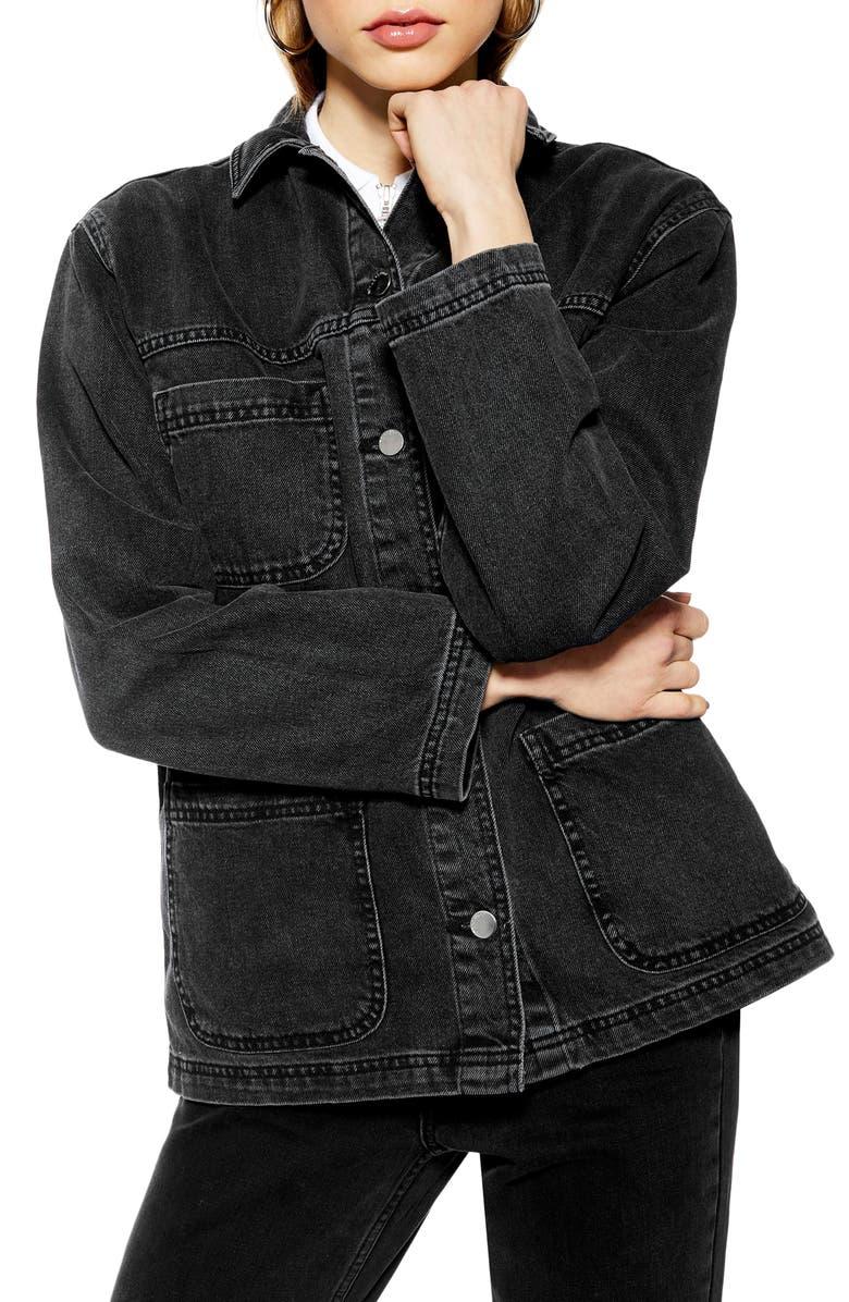 TOPSHOP Denim Jacket, Main, color, 003