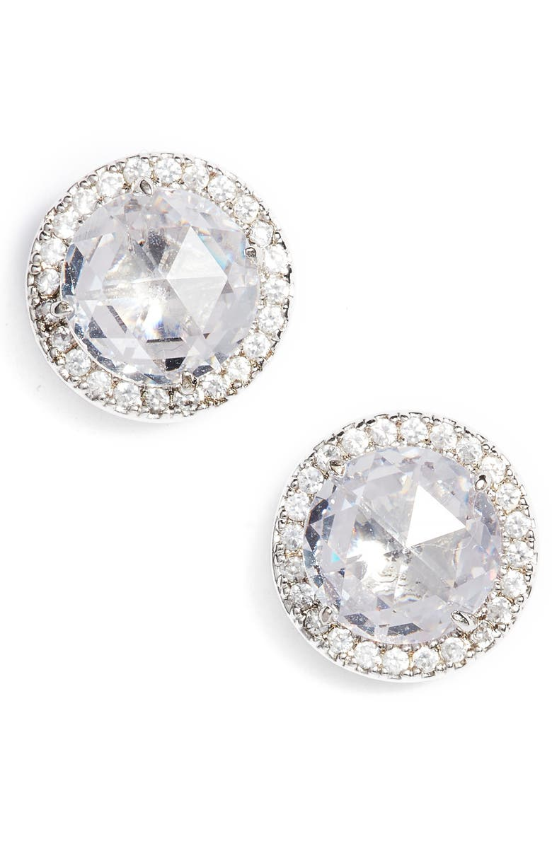 KATE SPADE NEW YORK bright ideas pavé halo stud earrings, Main, color, CLEAR/ SILVER