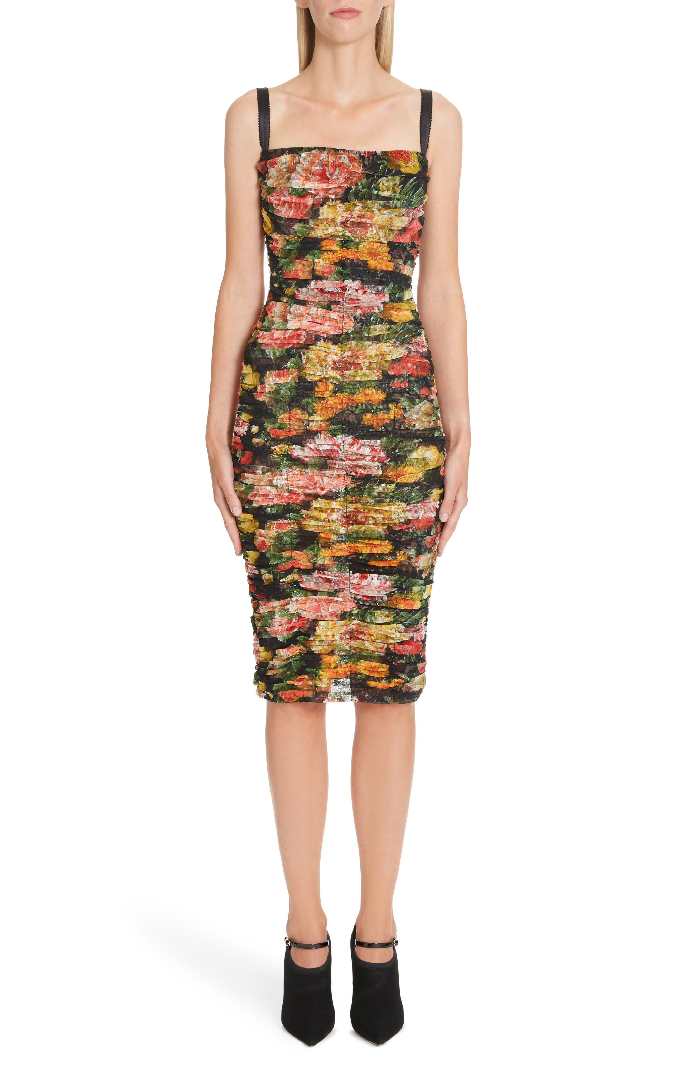 Dolce & gabbana Floral Print Ruched Tulle Body-Con Dress, 8 IT - Black