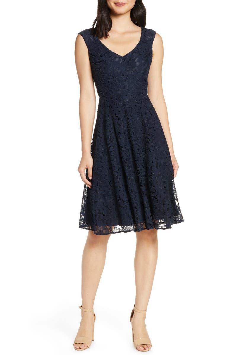 Eliza J Lace Fit Flare Dress