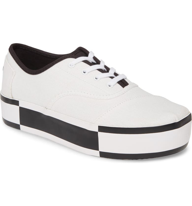 TOMS Cordones Boardwalk Sneaker, Main, color, WHITE/ BLACK CANVAS
