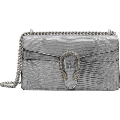 Gucci Small Lizard Embossed Metallic Leather Shoulder Bag - Metallic