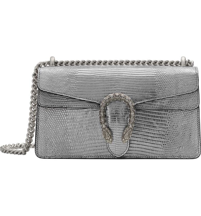 GUCCI Small Lizard Embossed Metallic Leather Shoulder Bag, Main, color, ARGENTO/ BLACK DIAMOND
