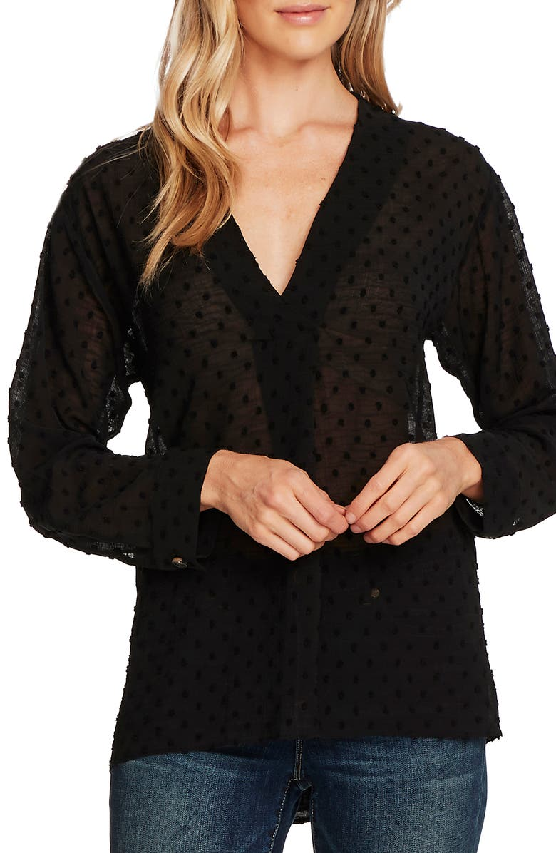 VINCE CAMUTO Clip Dot Long Sleeve Blouse, Main, color, RICH BLACK