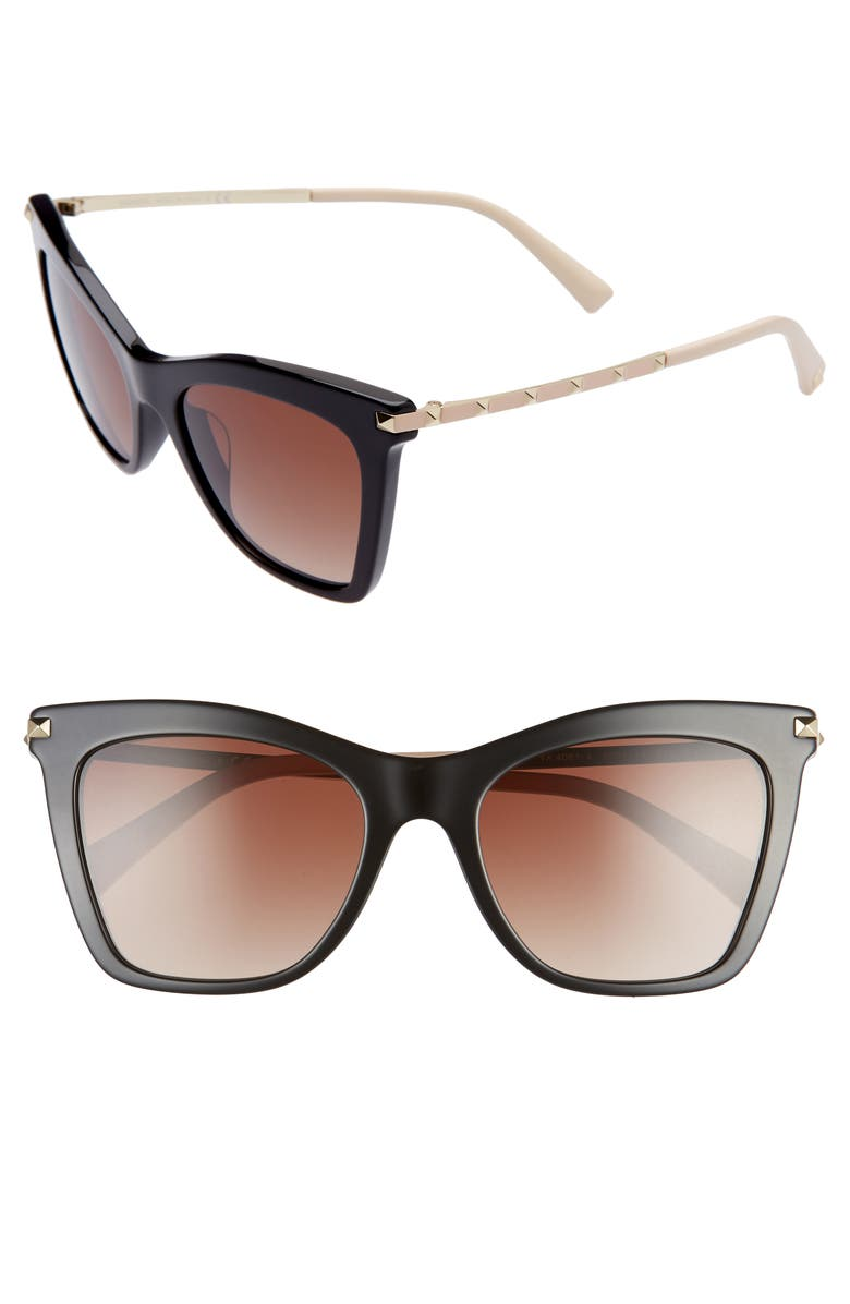 VALENTINO Rockstud 54mm Polarized Cat Eye Sunglasses, Main, color, 200