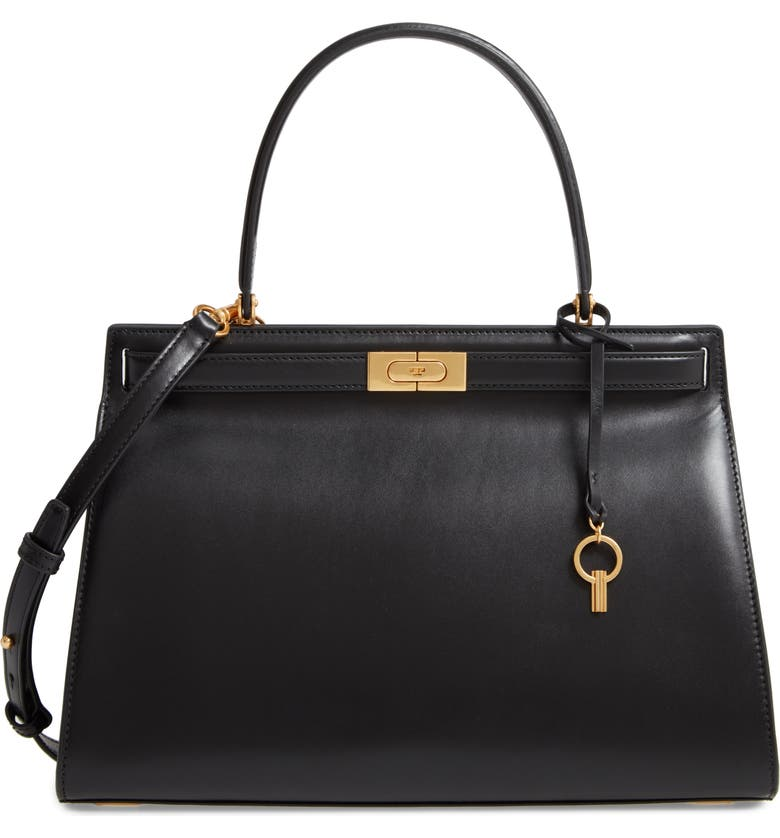 TORY BURCH Large Lee Radziwill Leather Bag, Main, color, BLACK