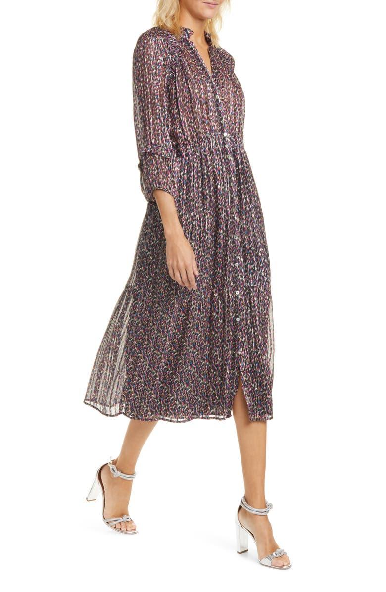 BA&SH The Dean Metallic Print Pleated Midi Dress, Main, color, NOIR