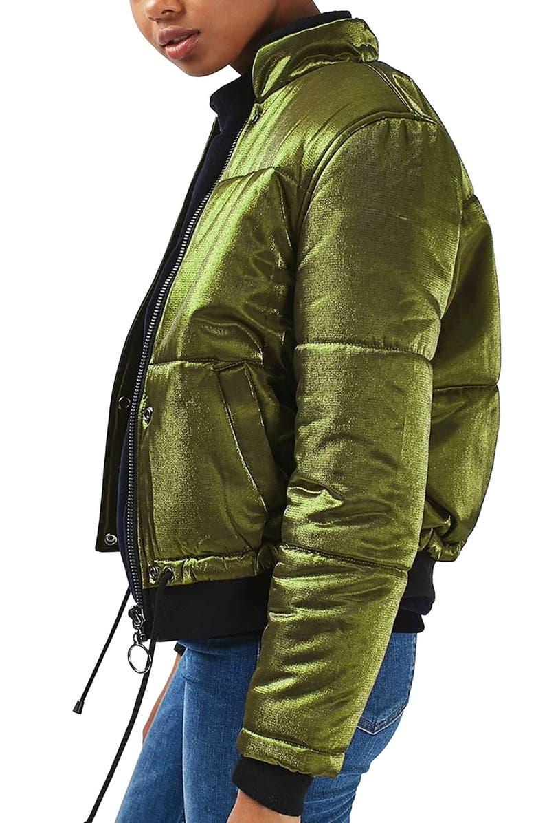 TOPSHOP Carter Lurex Satin Jacket, Main, color, 300