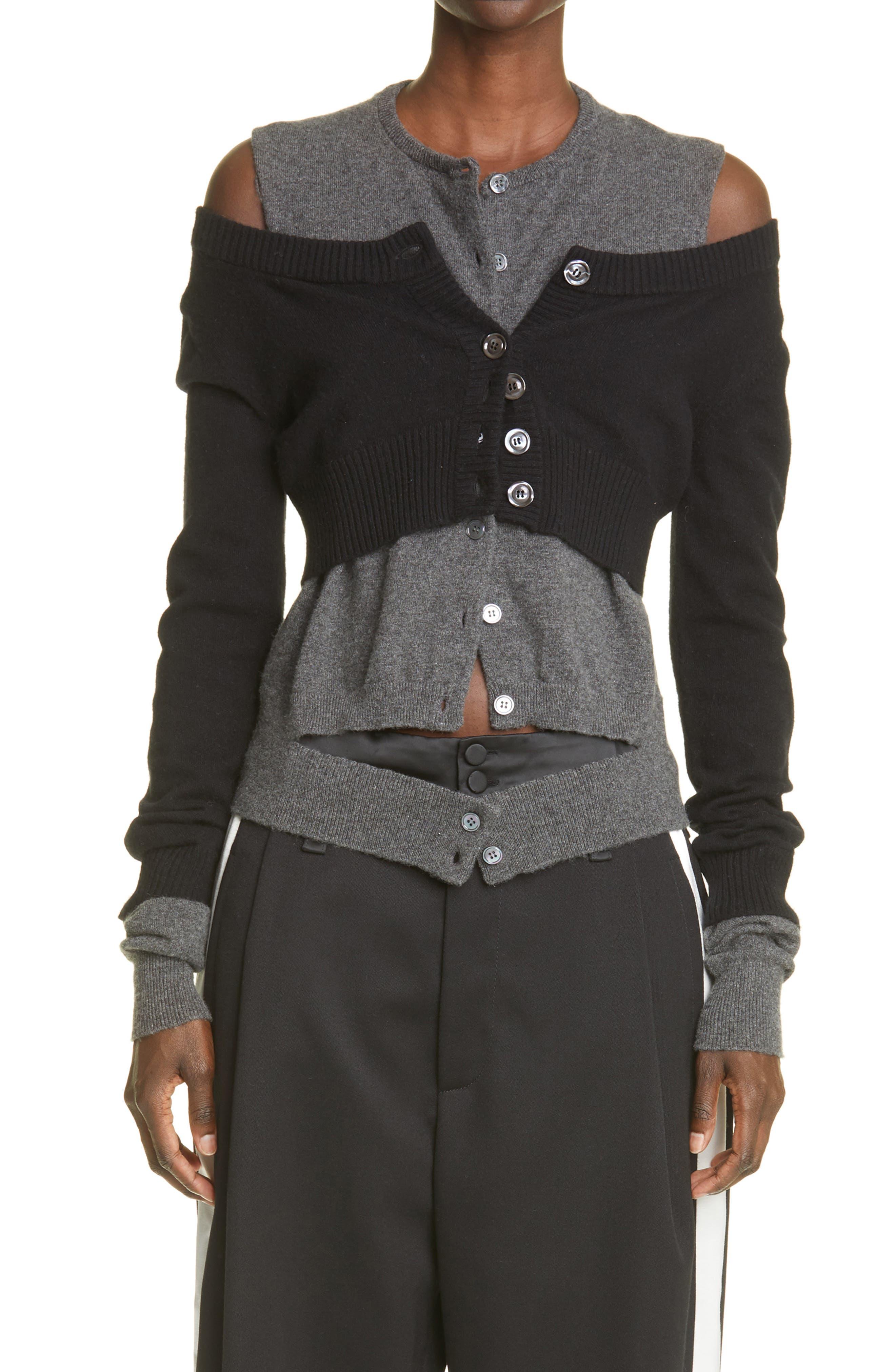 Double Layered Cashmere Crop Cardigan & Vest Set