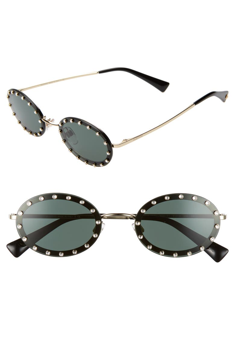 VALENTINO 51mm Crystal Rockstud Oval Sunglasses, Main, color, 001