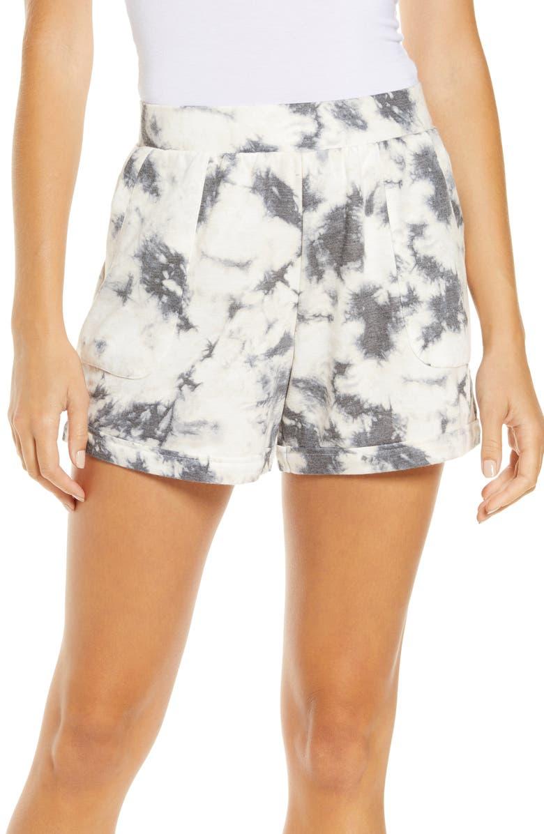 REFINERY29 Double Knit Lounge Shorts, Main, color, BLACK TIE-DYE