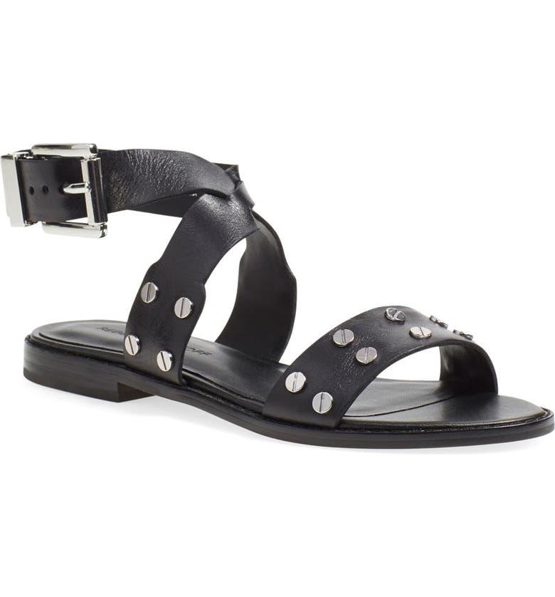 REBECCA MINKOFF 'Stam' Studded Ankle Strap Sandal, Main, color, 001