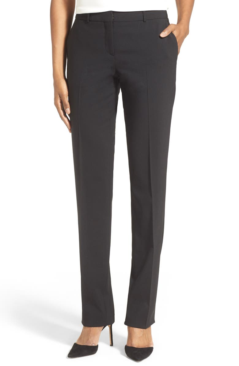 BOSS Tamea Tropical Stretch Wool Trousers, Main, color, BLACK