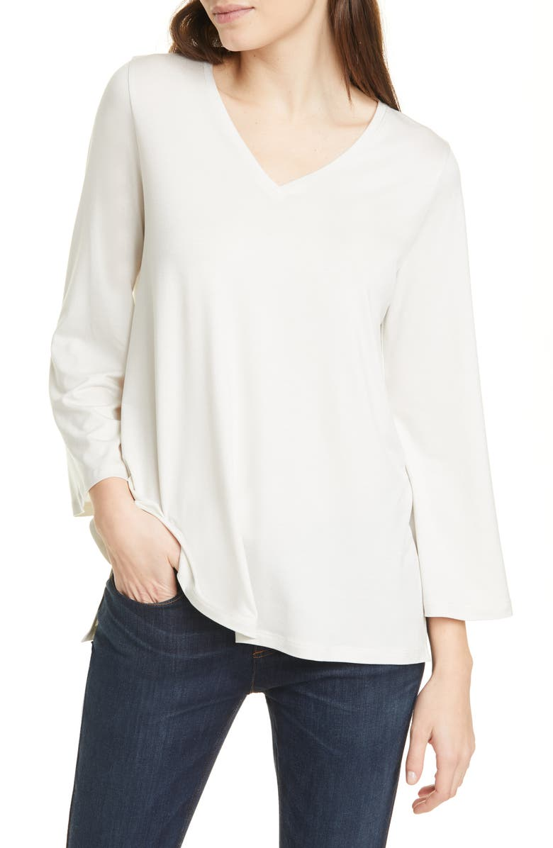 EILEEN FISHER V-Neck Wide Sleeve Top, Main, color, BONE