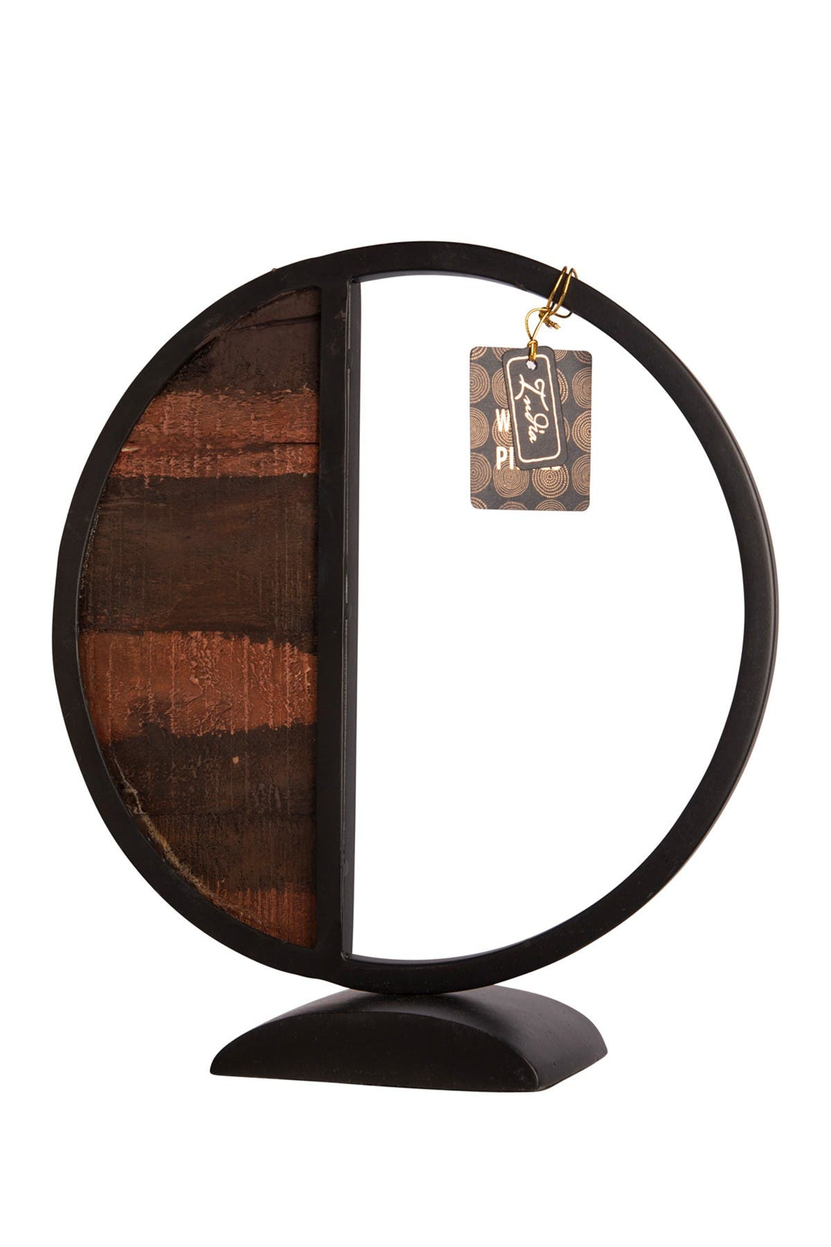 """Image of Home Essentials and Beyond 13""""H Round Black Metal Wood Object"""