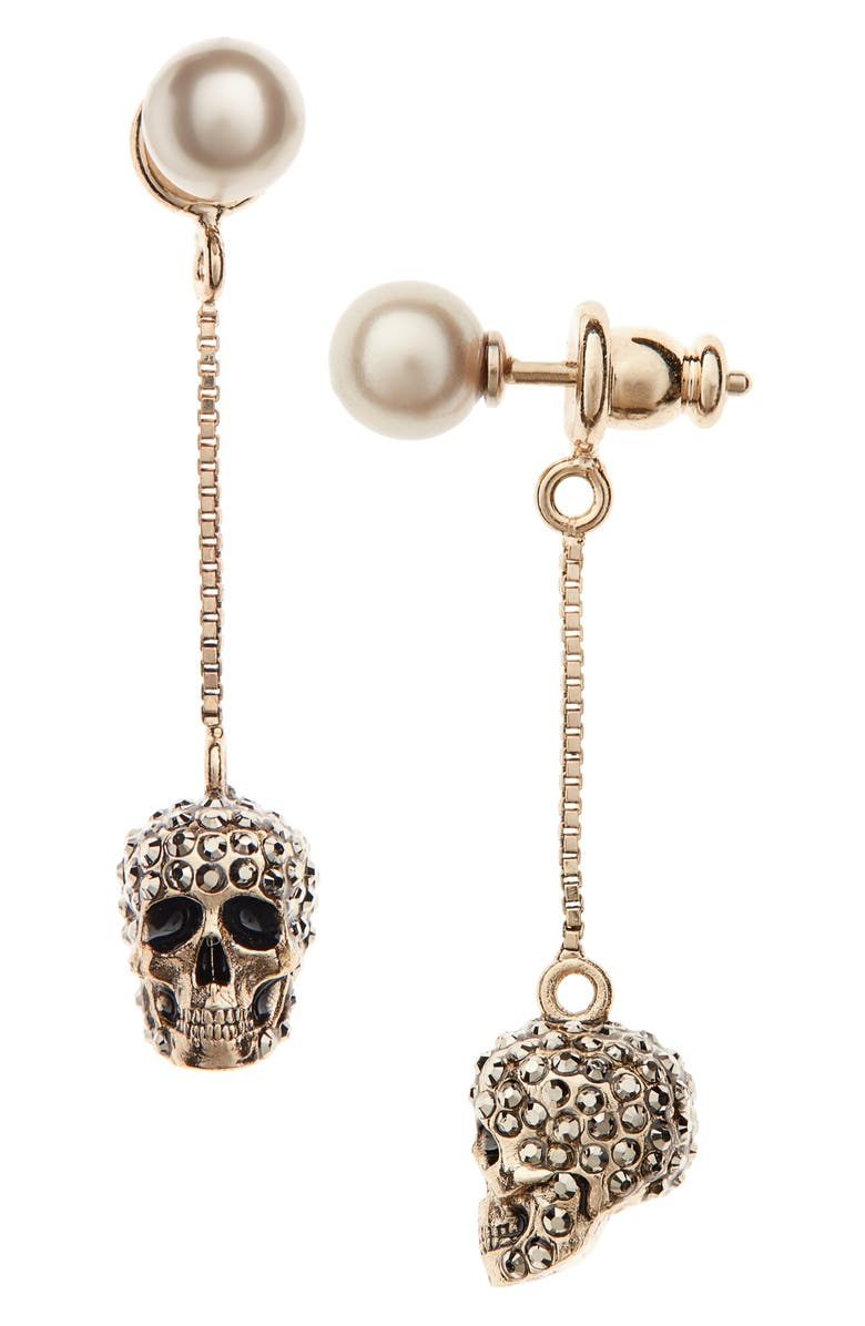 ALEXANDER MCQUEEN Pavé Skull Drop Earrings, Main, color, 710