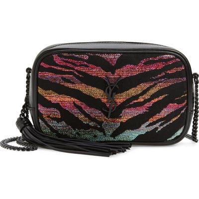 Saint Laurent Mini Lou Tiger Stripe Camera Bag - Black