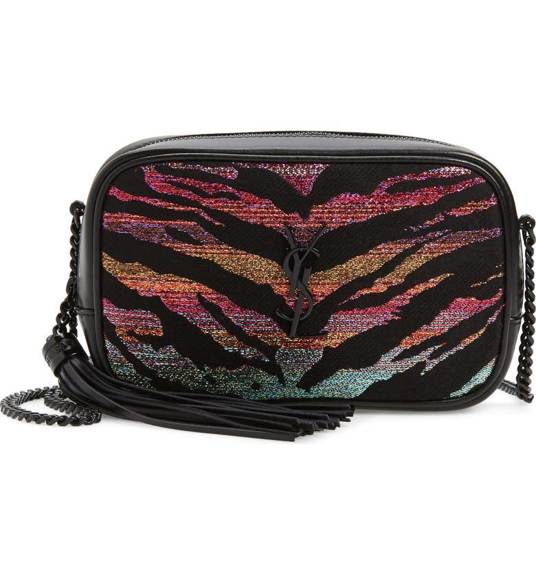 SAINT LAURENT Mini Lou Tiger Stripe Camera Bag, Main, color, 001