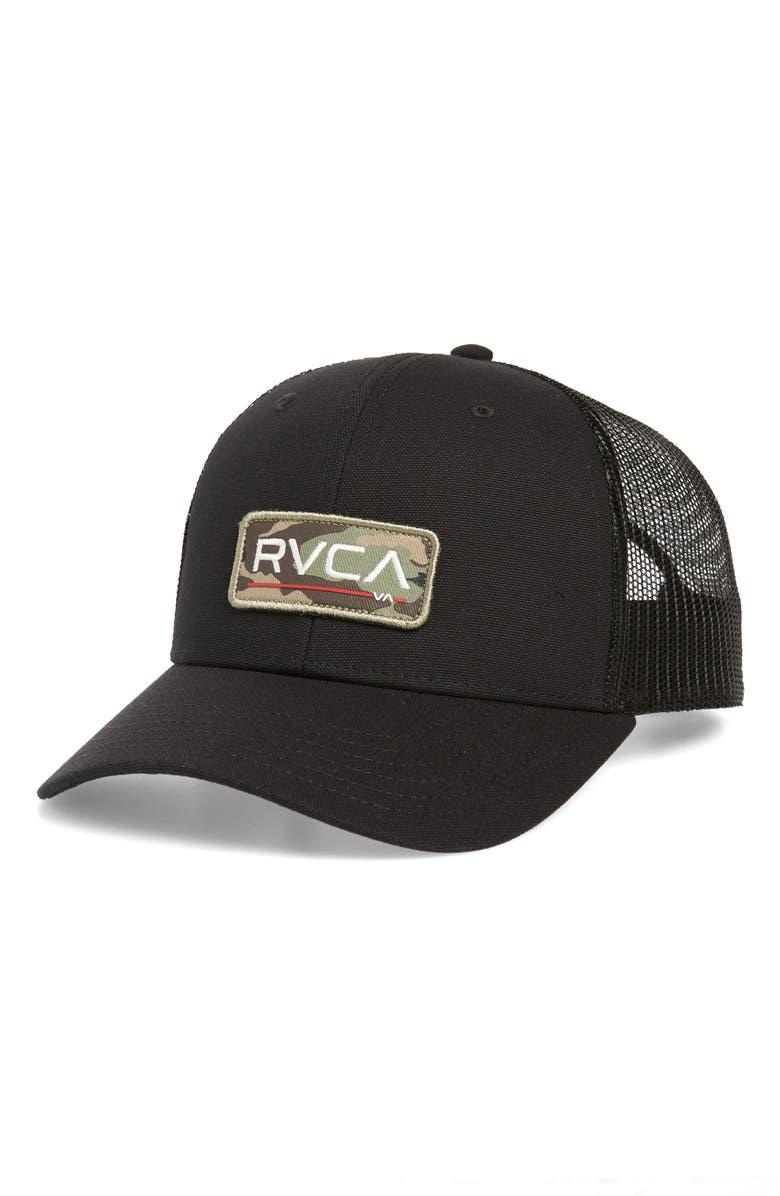 RVCA Ticket II Trucker Hat, Main, color, BLACK CAMO