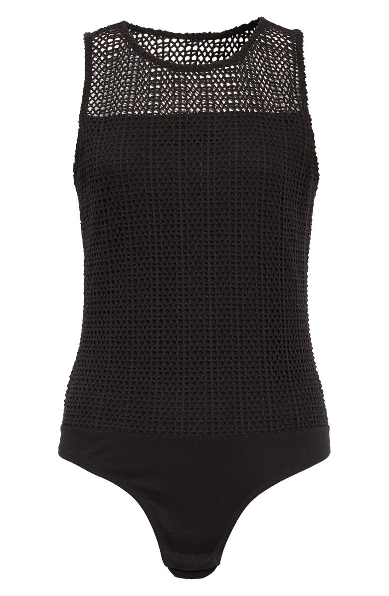 MADEWELL Mesh Thong Bodysuit, Main, color, 001