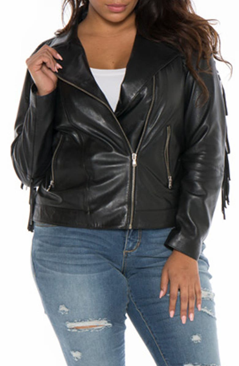 2019 hot sale how to choose top style SLINK Jeans Fringe Leather Jacket (Plus Size) | Nordstrom
