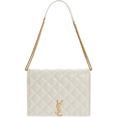 Saint Laurent Small Becky Quilted Lambskin Leather Shoulder Bag - Ivory