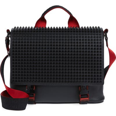 Christian Louboutin Loubouclic Spiked Leather Messenger Bag - Black