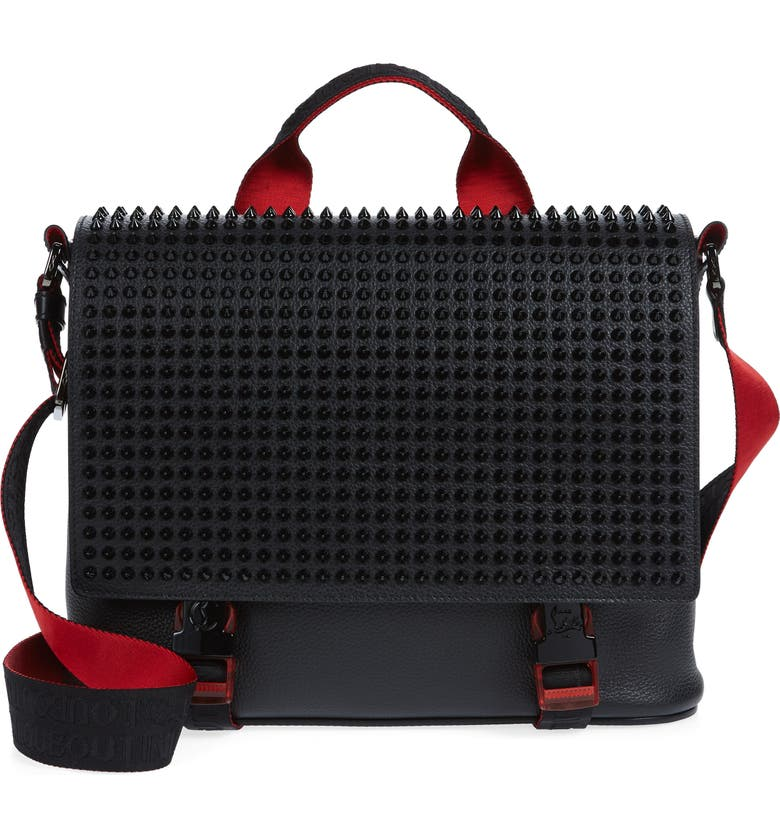 CHRISTIAN LOUBOUTIN Loubouclic Spiked Leather Messenger Bag, Main, color, BLACK