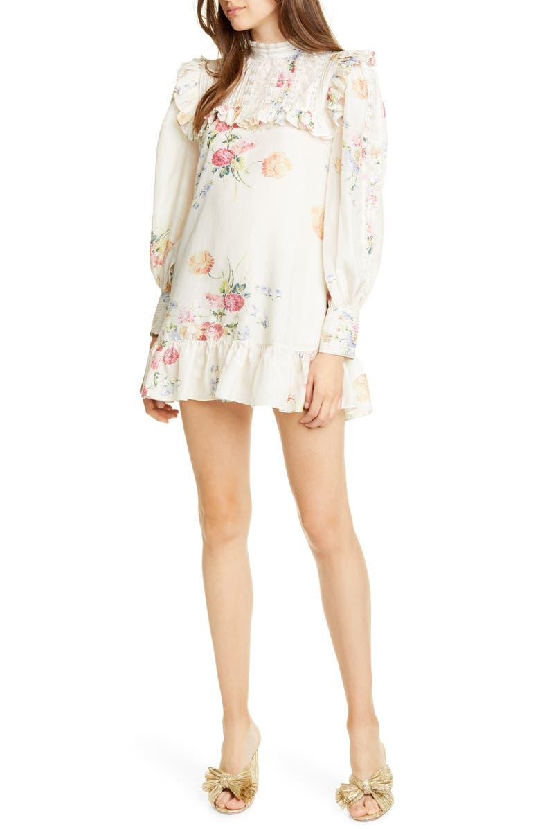 LOVESHACKFANCY Saffron Floral Long Sleeve Silk Minidress, Main, color, NATURAL CREAM