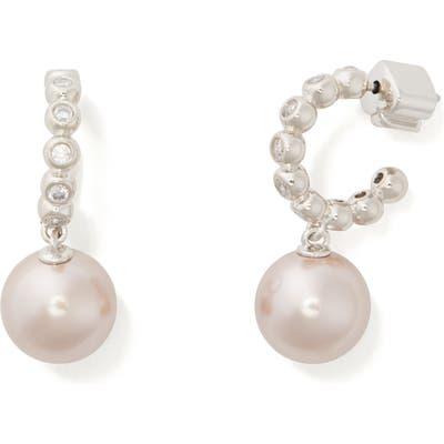 Kate Spade New York Modern Imitation Pearl Drop Huggie Hoop Earrings