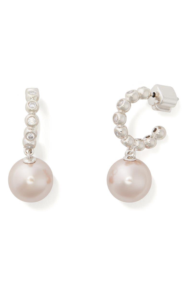 KATE SPADE NEW YORK modern imitation pearl drop huggie hoop earrings, Main, color, 500