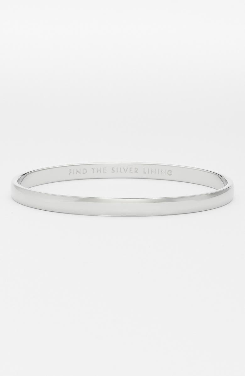 KATE SPADE NEW YORK 'idiom - find the silver lining' bangle, Main, color, SILVER