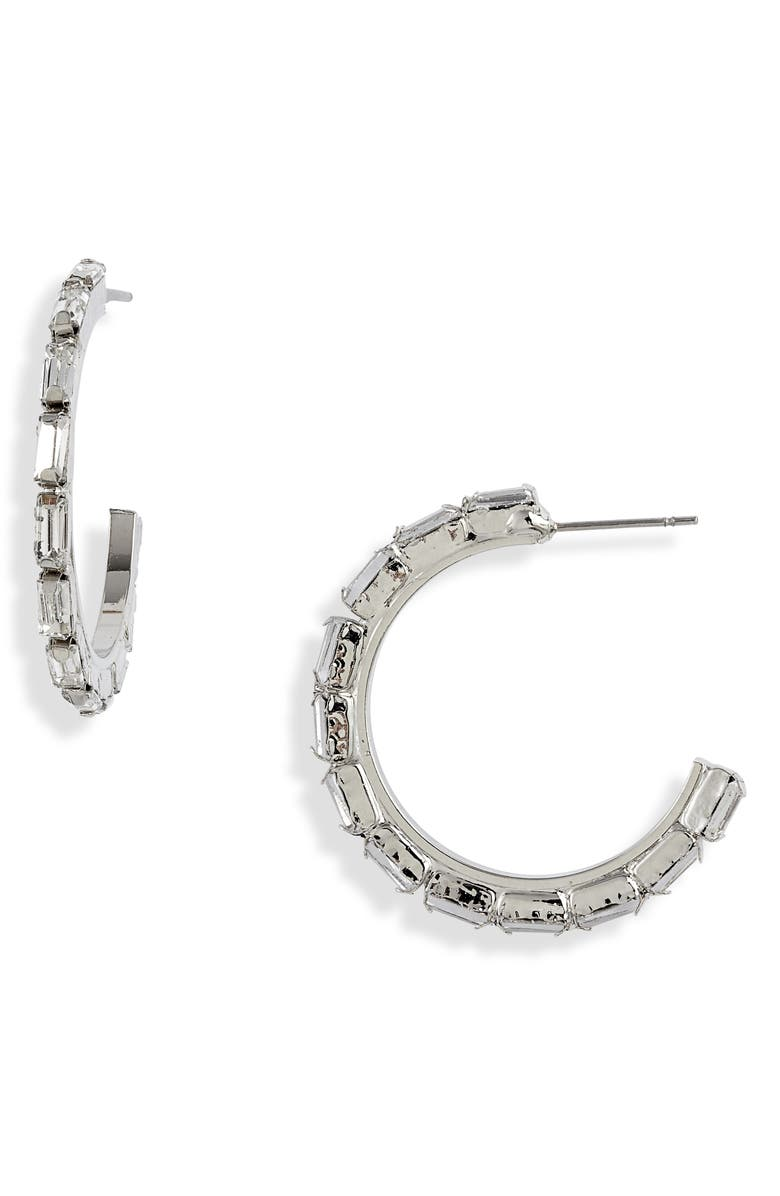 CRISTABELLE Crystal Baguette Hoop Earrings, Main, color, CRYSTAL/ SILVER