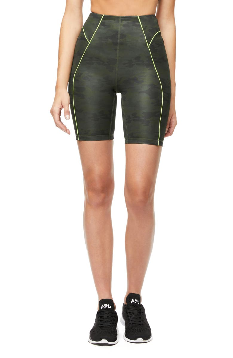 GOOD AMERICAN Piped Bike Shorts, Main, color, CAMO002