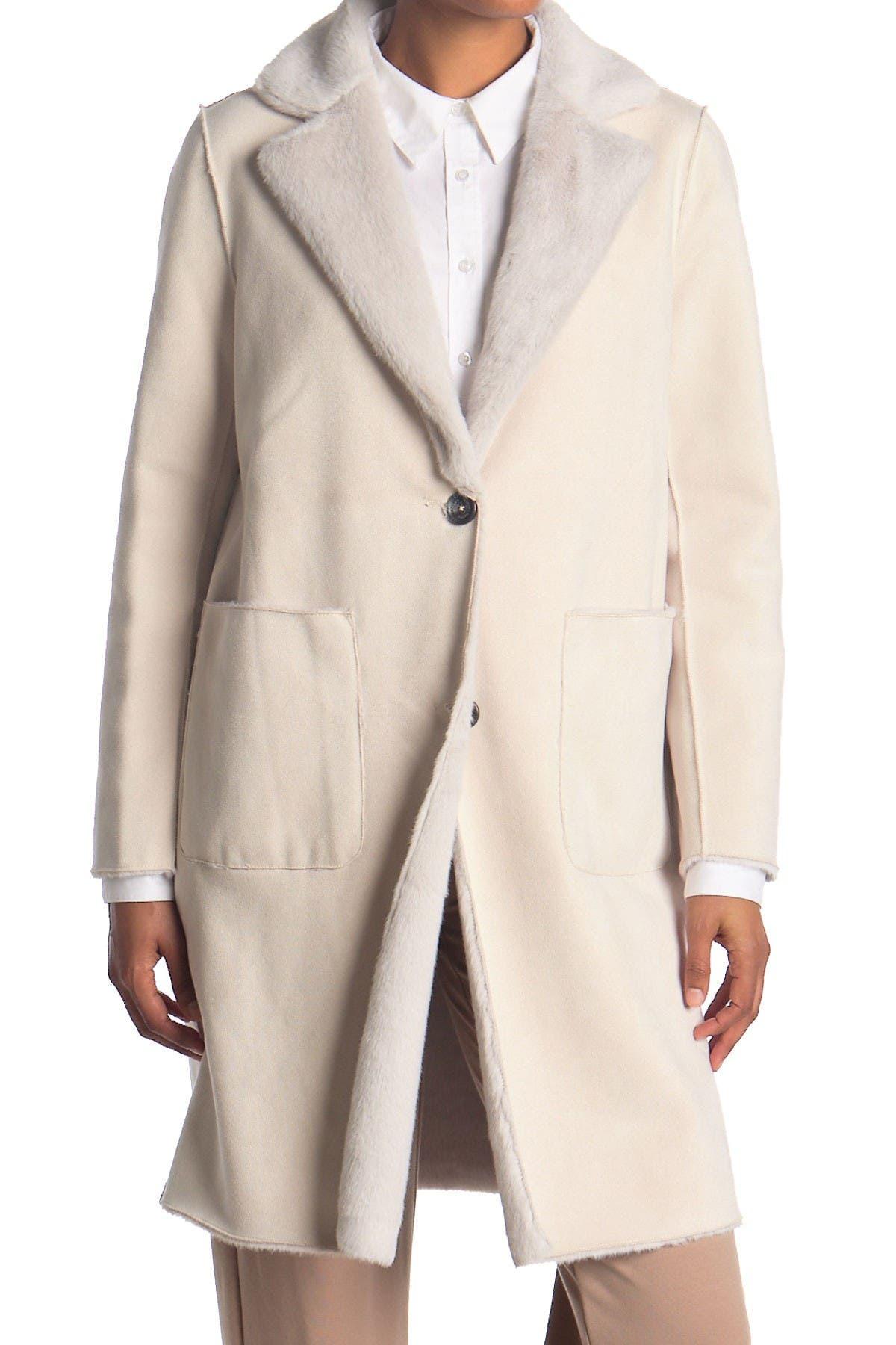 Image of Lauren Ralph Lauren Reversible Faux Shearling Long Coat