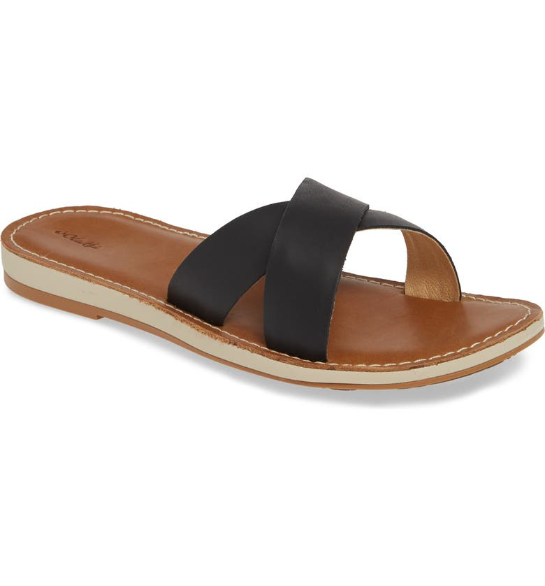 OLUKAI Ke'a Slide Sandal, Main, color, BLACK/ TAN LEATHER