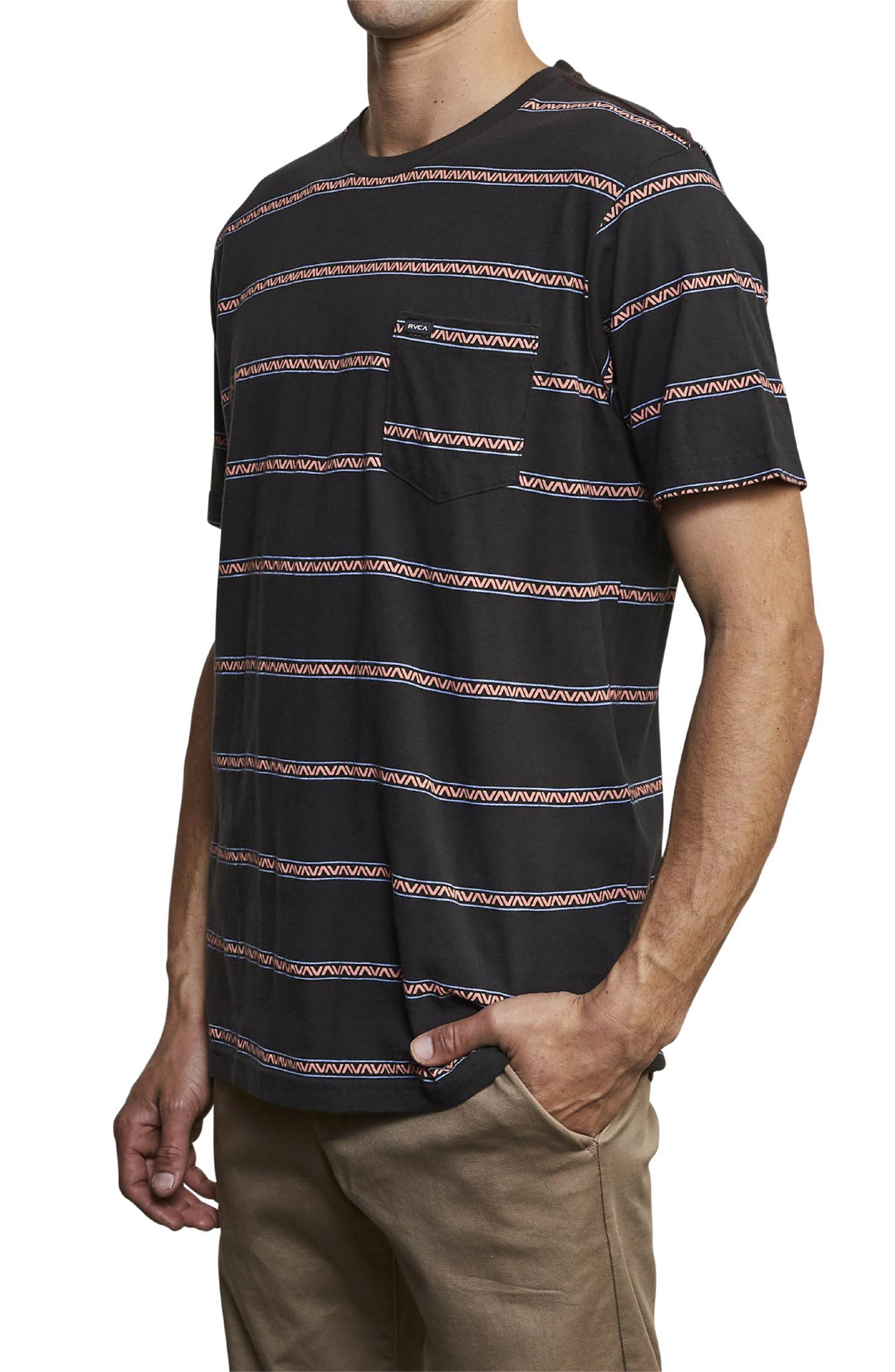 ,                             Retro VA Stripe Pocket T-Shirt,                             Alternate thumbnail 3, color,                             PIRATE BLACK