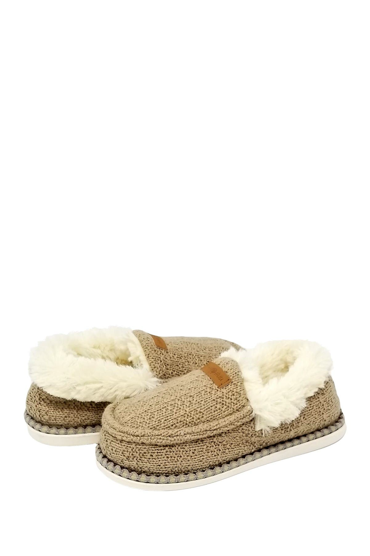 Image of GAAHUU Textured Knit Faux Fur Moccasin
