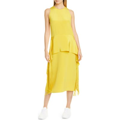 Stella Mccartney Fringe Hem Silk Midi Dress, US / 44 IT - Yellow