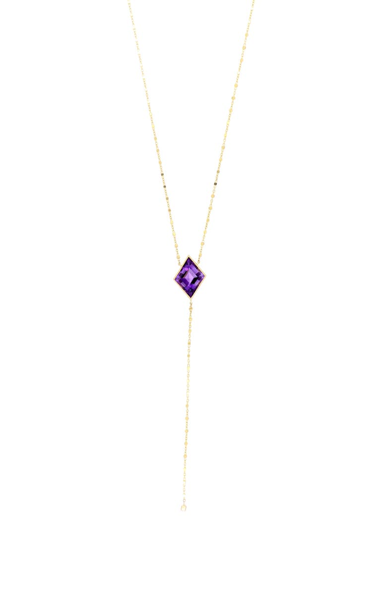 BONY LEVY Amethyst Kite Y-Necklace, Main, color, YELLOW GOLD/ AMETHYST