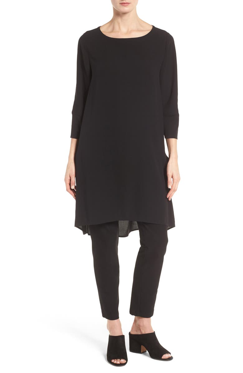 EILEEN FISHER Mixed Media Silk Tunic, Main, color, 001