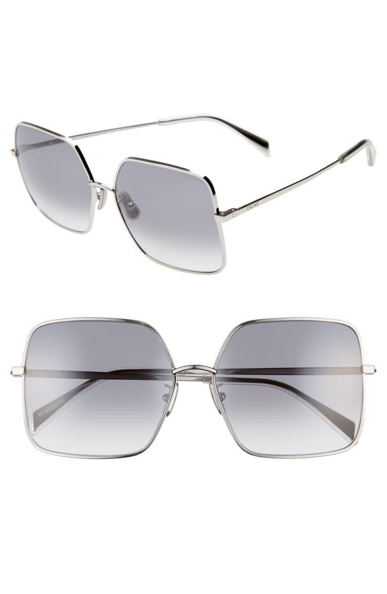 CELINE 60mm Gradient Square Sunglasses, Main, color, PALLADIUM/ GRADIENT BLUE