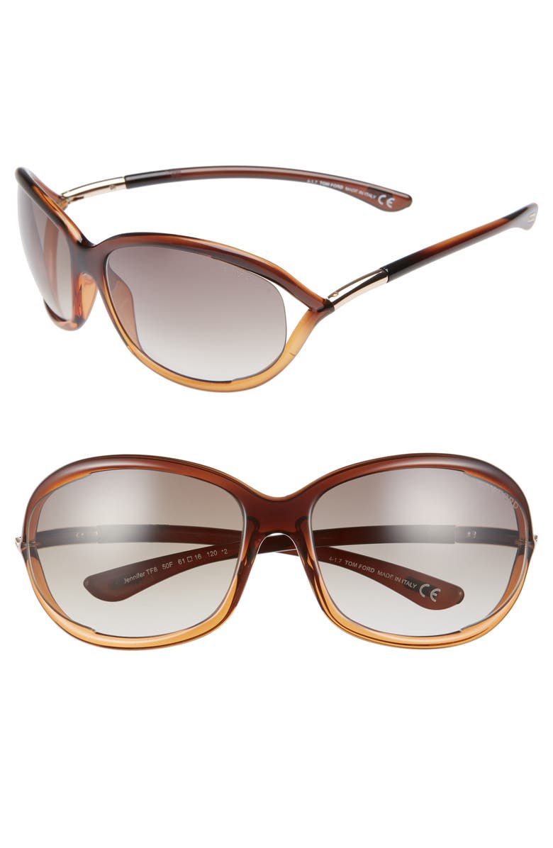 TOM FORD 'Jennifer' 61mm Oval Oversize Frame Sunglasses, Main, color, BROWN GRADIENT/ LIGHT ORANGE
