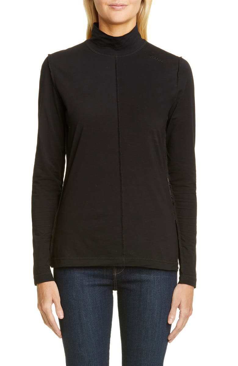 GANNI Lightweight Jersey Turtleneck, Main, color, BLACK