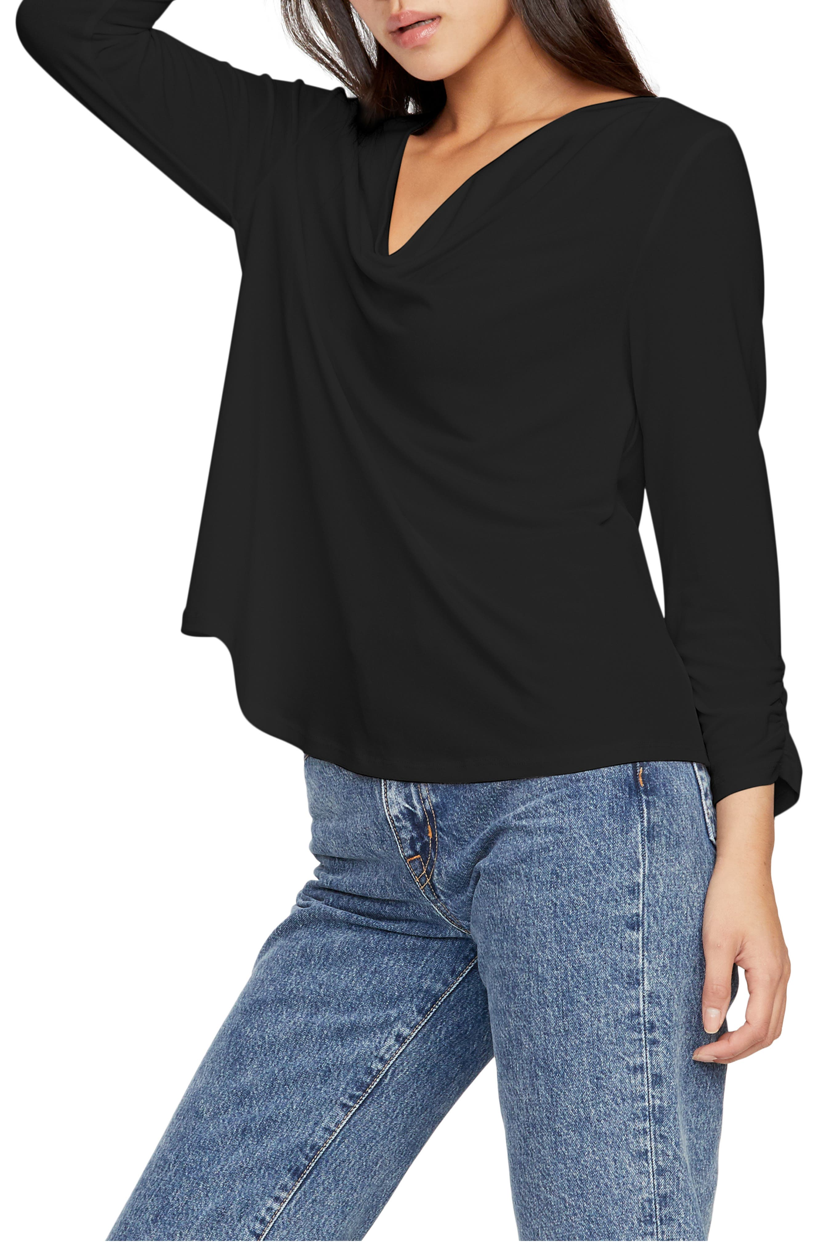 Image of Michael Stars Laurel Cowl Neck Shirred Sleeve Top